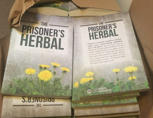 A box of The Prisoner's Herbal books