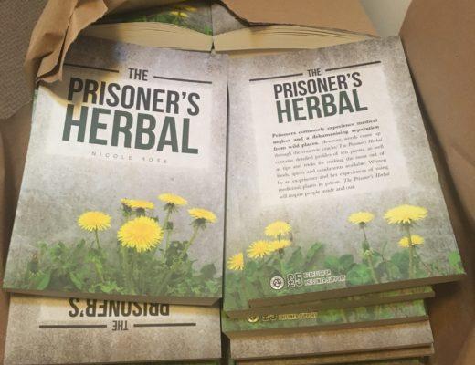A box of The Prisoner's Herbal books