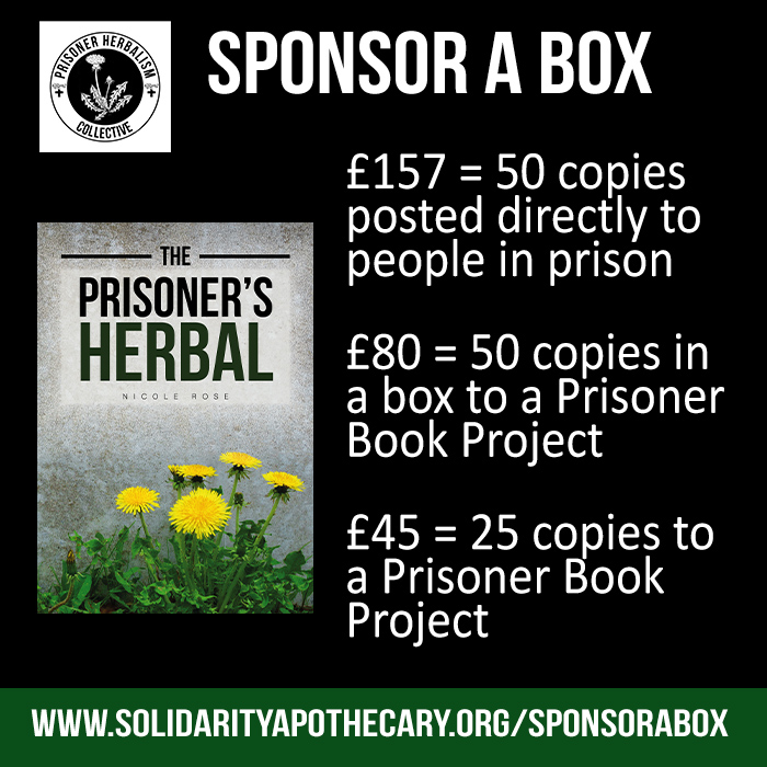 Sponsor a box graphic with a picture of the Prisoner's Herbal book
