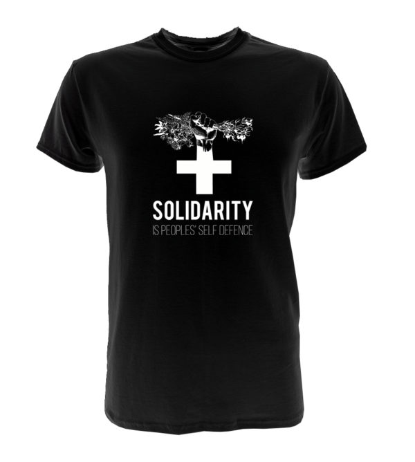 Image shows a tshirt saying solidarity is the peoples' self defence